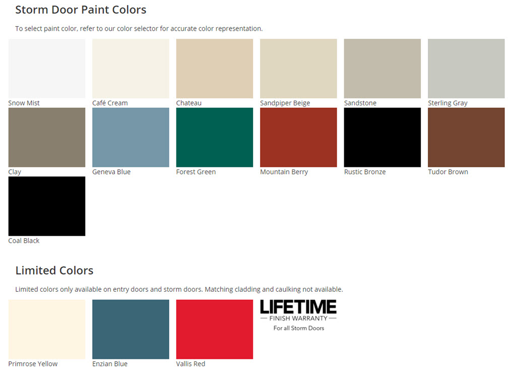 Provia Storm Door Colors