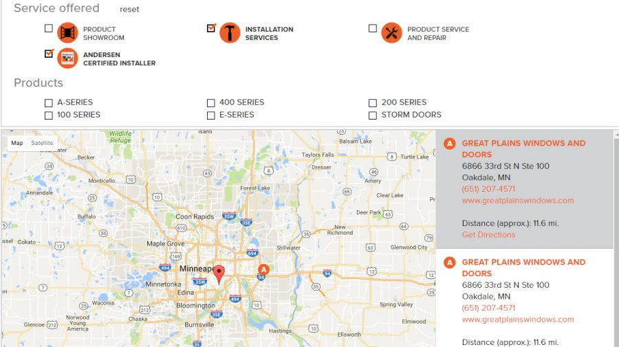 Andersen Windows Certified Installer Twin Cities Map