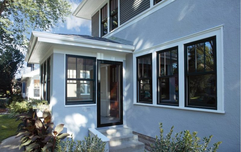 Exterior window replacement stucco house
